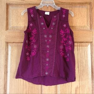 5/$15 Burgundy Cupio Tank with Embroidery